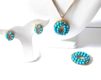 Signed Rachel Zoe Turquoise Necklace, Brooch and Earrings Set MIB