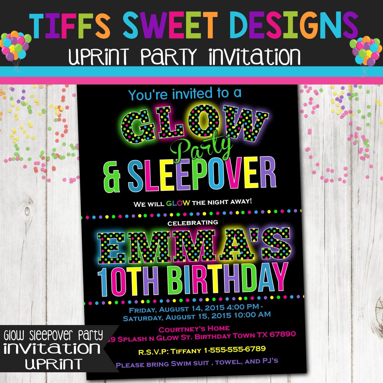 Glow In The Dark Sleepover Party Birthday By TiffsSweetDesigns