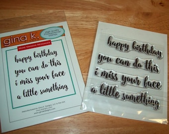 Gina K Designs Stamp Set, More Massive Messages, Clear Cling Stamps, Set of 4 Stamps