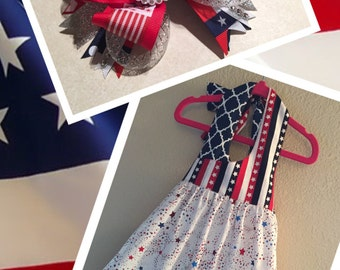 Girls Patriotic Sundress with Matching Bow