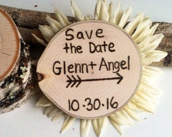 100 wood slice save the date magnets
