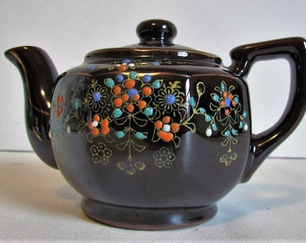 Small Vintage Japanese Brown Teapot Creamer Hand Painted Redware Ceramic Collectible