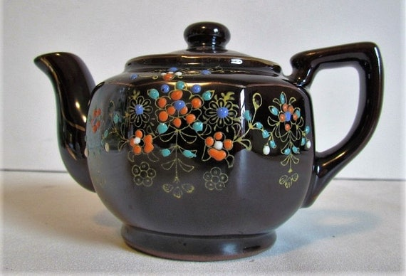 Vintage Brown Hand Painted Japanese Teapot