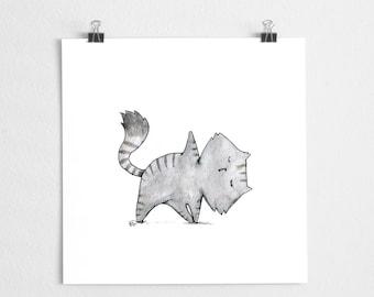Yoga cat watercolor art print // Yogacat #3