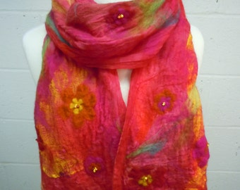 Bright Red Nuno Felted Scarf with flowers, beading