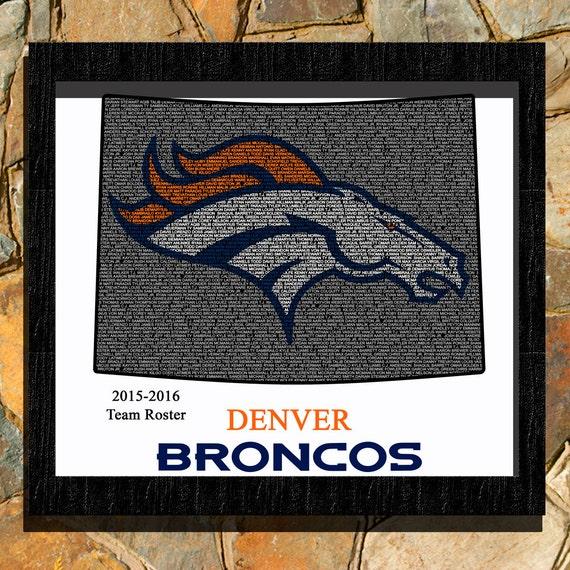 Denver Broncos Team Roster Word Art Print By
