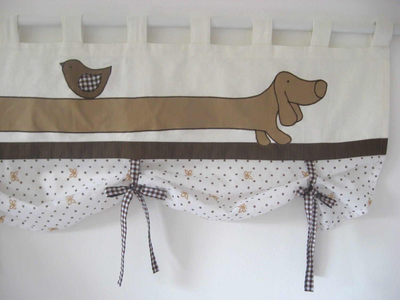 Dachshund Curtain Linen Farmhouse Tie Up Valance Kitchen Brown