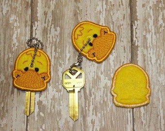 Duck key cover, key chain, embroidered, keychain, key fob, keyfob, embroidery, gift, stocking stuffer, party favor, grab bag, animal
