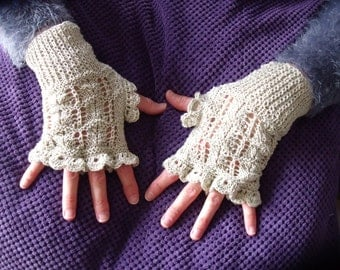 light beige fingerless gloves in gloss cotton