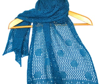 Lace knitted Scarf or Wrap in Merino and Silk