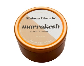 Marrakesh Travel Candle. Hand-poured. 30 hr burn time