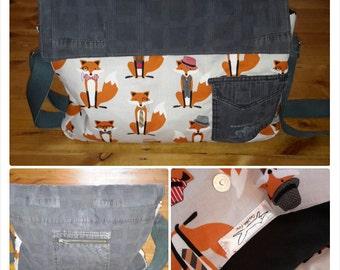 Upcycled Fox messenger,shoulder bag, handbag, man bag, woman