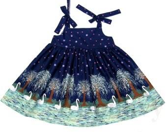 Girl's Swan Dress. Sundress Dress for Kid. Made to Order Girl Dress in All Sizes: 2_8