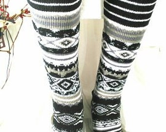 Geometric patterned over the knee socks