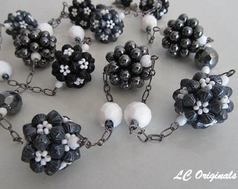 BLACK AND WHITE beaded balls chain necklace and earrings set
