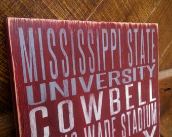 Mississippi State University Distressed Wood Sign--Great Father's Day Gift!