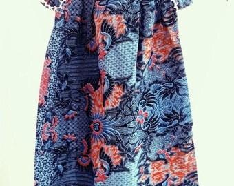 Cute Kids Boho Tunic Cotton Block Printed Batik Flower Girl Dress, Crochet Batik Dress, Flower Girl Dress with Crochet Neck, Cute Boho Dress