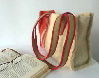 small tote bag, small shopper bag, felted woolen tot bag, felted woolen blanket, canvas handles