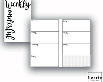 Traveler's Notebook Pocket Week on Two Printable Pages