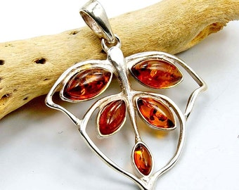 Forest Leaf Pendant Natural Baltic Amber Pendant Amber from Poland & .925 Sterling Silver Pendant , O4