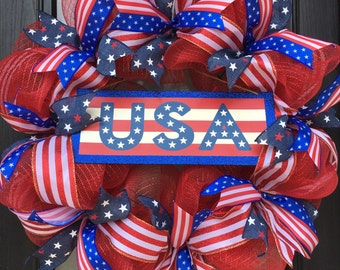 Patriotic Wreath; 4th of July Deco Mesh Wreath; Red White and Blue Wreath, Summer Door Decor, USA or America Wreath