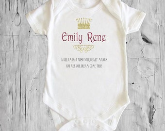 """Girl's Crown """"Dream Come True"""" Personalized white onsie Snap bottom all in one bodysuit"""