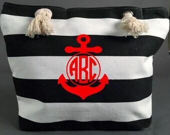 Canvas Tote Bag - Canvas Beach Bag - Canvas Bag - Monogram Tote Bag - Bridal Party Bags - Bridal Party Gift  Nautical Striped Bag