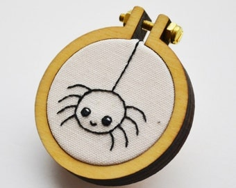 Spider Brooch Miniature 4cm Hand Embroidery Hoop Art