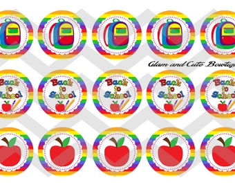 """Back to School INSTANT DOWNLOAD Bottle Cap Images 4x6 sheet 1"""" circles"""