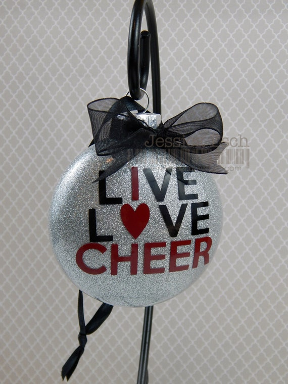 Cheer Ornament Live Love Cheer Personalized 3glass