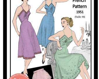 1950s Petticoat and Panties French  Sewing Pattern - Full Size Paper Pattern - Lingerie Sewing Pattern