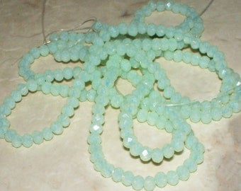 49 Faceted Matte Minty Green Crystal Glass Rondells - 4x3MM