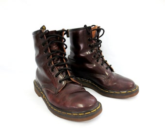 Dr Martens Oxblood Air Wair 8-Eye Boots UK Size 4 - US Womens Size 6 - Men's/Boys Size 5 Made in England 1990s Grunge