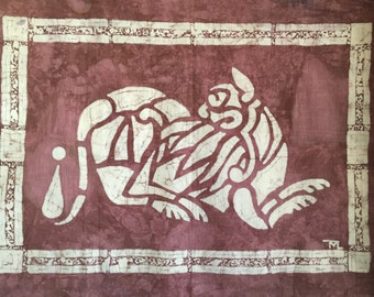 Batik wall hanging Celtic Tiger Beautiful House warming gift Home Decor