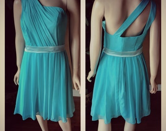 Teal bridesmaid dress - Single shoulder with double back straps