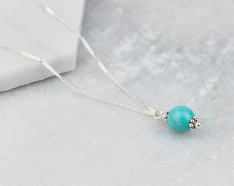 Sterling Silver Turquoise Necklace, Turquoise Necklace, Turquoise Necklace Pendant, Turquoise Jewellery, December Birthstone, Necklaces