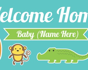 Welcome Home Baby Banner with Animals