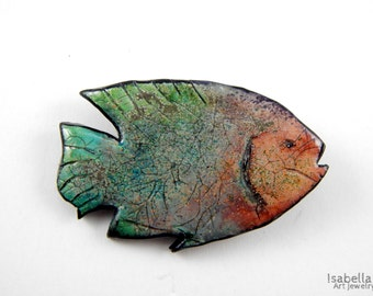 Fish brooch, christmas gift, polymer clay brooch, crackle effect, big fish, fish jewelry, faux ceramic, colorful fish pin, exotic fish