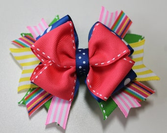 Pink and Blue Rainbow Neon Summer Boutique Hair Bow, Colorful Birthday Hair Bow