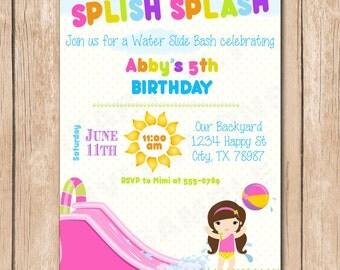 Water Slide Birthday Bash Invitation | Splish Splash - 1.00 each printed or 12.00 DIY file