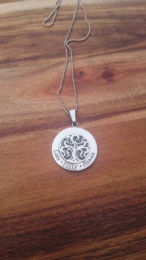 Hand Stamped Tree of Life Necklace, Personalized