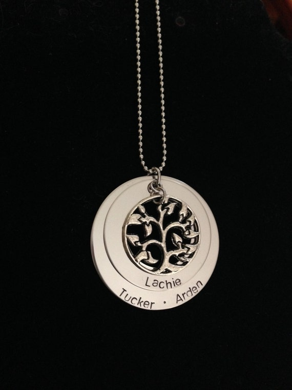 Personalized Necklace with Family Tree Charm- Great Gifts for Mums and Grandparents. Hand stamped