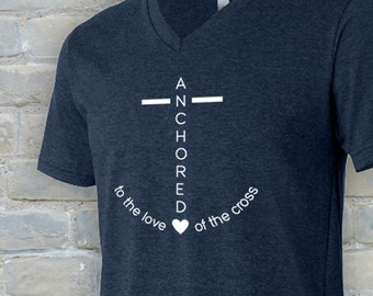 Anchored to the love of the cross, anchored shirt, Christian shirt, Christian apparel, anchored to the cross, love of the cross, tshirt