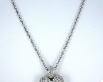 14KT White Gold Link Necklace  &   18KT White Gold Diamond Heart Pendant