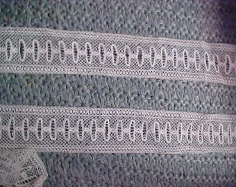 """vntage white lace with Holes for Ribbon, 1 yd 30 inches by 1""""#935"""