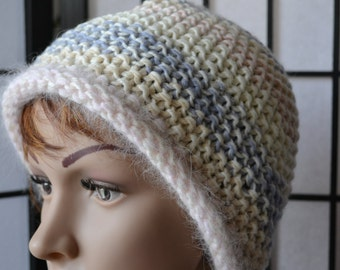 Hand Knitted cloche beanie Cosy beanie Womens knit hat Wool cashmere hat