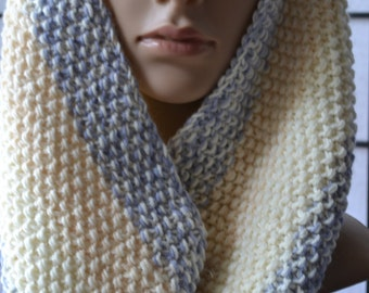 Hand Knit Cowl, Hand Knitted Infinity Scarf Soft Cosy Cowl, Sky, Cream Sand Cowl