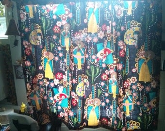 Handmade Alexander Henry Fabric Mexican  Woman Window Curtain