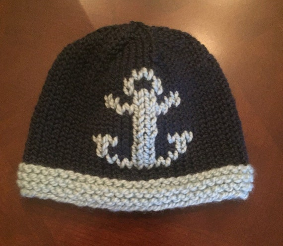 Hand-Knit Anchor Hat for Baby/Child- Shown in Navy/Light Blue Merino Wool