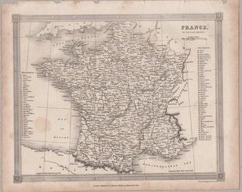 1843 Vintage Map of France #00145